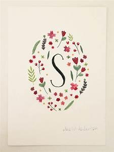 monogram letter s floral art print by ameliaherbertson on With floral monogram letter
