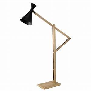 Stehlampe Aus Holz : stehlampe cagliari aus holz und schwarzem metall h 169 cm maisons du monde ~ Indierocktalk.com Haus und Dekorationen