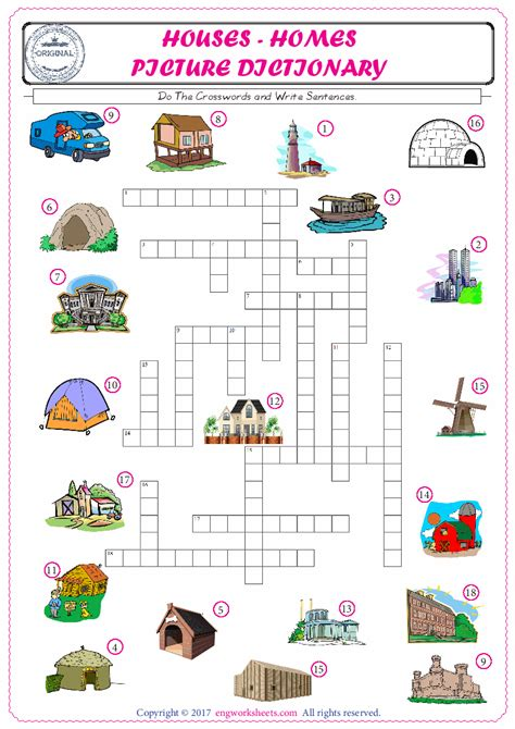 houses homes esl printable english vocabulary worksheets