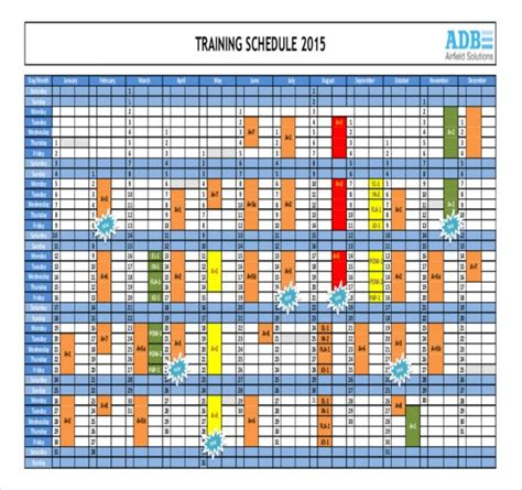 training calendar template   word  psd