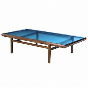 pintor coffee table walnut frame with brass inlay blue With glass inlay coffee table