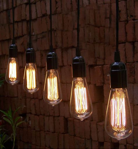 Replica Designer Lamps by Black Bare Bulb Pendant With Bulb