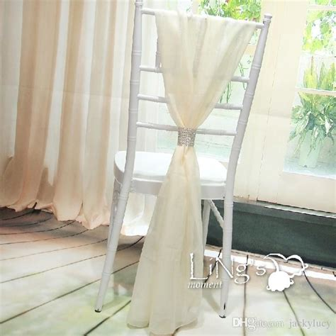 2016 white wedding chair covers chiffon material custom made 1 8 m length chair sashes wedding