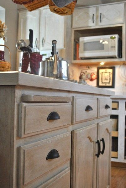 How To Whitewash Paint Cabinets Already Stained by This Post Showing How To Take Cabinets Like Mine And