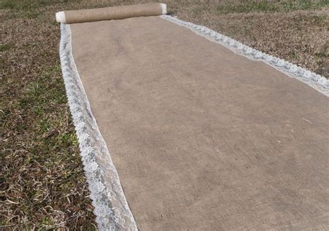 diy burlap aisle runner with lace trim by rusticchicksdesigns 25 00 wedding