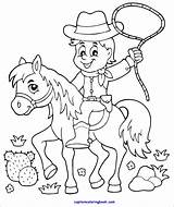 Coloring Cowboy Horse sketch template