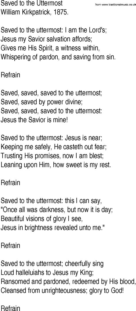 saved to the uttermost hymn and gospel song lyrics for saved to the uttermost by