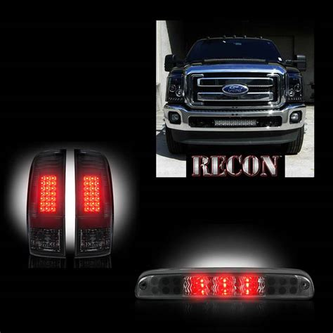 smoked headlights and tail lights ford superduty f 250 to f 550 2011 16 recon smoked