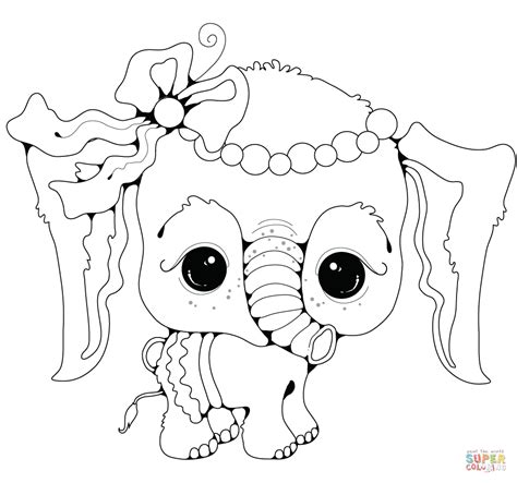 baby elephant girl super coloring