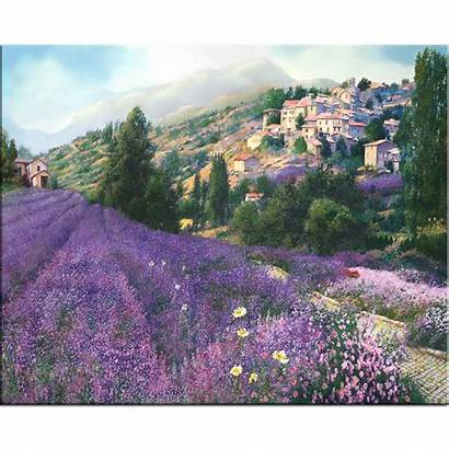 Lavender Fields Field Painting Canvas Limited Edition