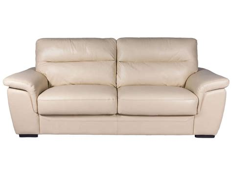 canapé 3 places fixe canapé fixe 3 places en cuir coloris beige