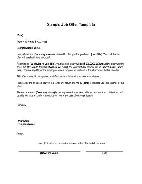 employment offer letter template offer letter sle template resume builder