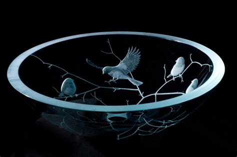 etched glass vessel sink birds sinks gallery