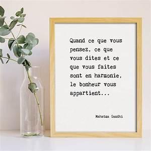 Poster Gandhi Citation Bonheur Etre Optimiste