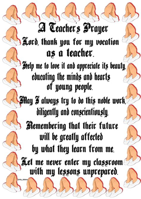 teachers prayer poster  jinkydabon teaching resources