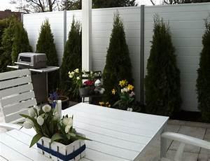 Sichtschutzzaun Aus Kunststoff : basicline sichtschutz f r terrasse in wei ~ Frokenaadalensverden.com Haus und Dekorationen
