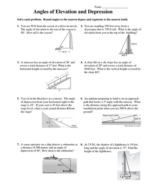 Worksheet Angles Of Depression And Elevation ...