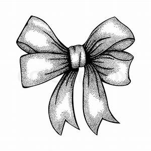 Beautiful ribbon tied in a bow Freehand drawing in