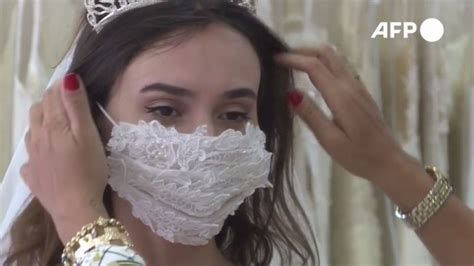 Brides wear intricate wedding day face masks amid pandemic ...
