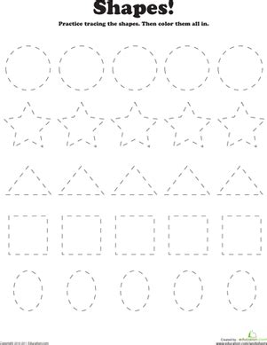 trace and color shapes worksheet education 594 | trace color shapes coloring preschool