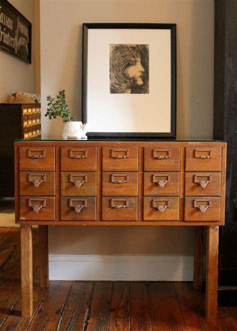 vintage library card catalog file cabinet