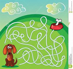 stock illustration cute dog s maze game help find his bone image