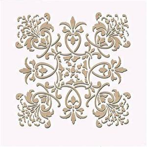 Wall stencil small florence tile stencil royal design for What kind of paint to use on kitchen cabinets for large leaf wall art
