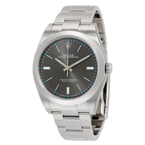 Rolex Oyster Perpetual 39 Dark Rhodium Dial Stainless. Lunar Phase Watches. Star Blue Sapphire. Faint Fluorescence Diamond. Square Silver Bangle Bracelet. Gold Band Rings For Her. Diamond Band. Top Necklace. Fashionable Gold Chains