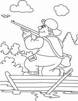 Hunting Coloring Pages Hunter Turkey Printable Boat Getcolorings Dog Pag sketch template