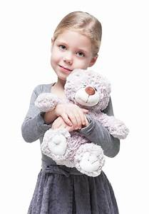 Beautiful Little Girl With Teddy Bear Isolated Stock Photo ...