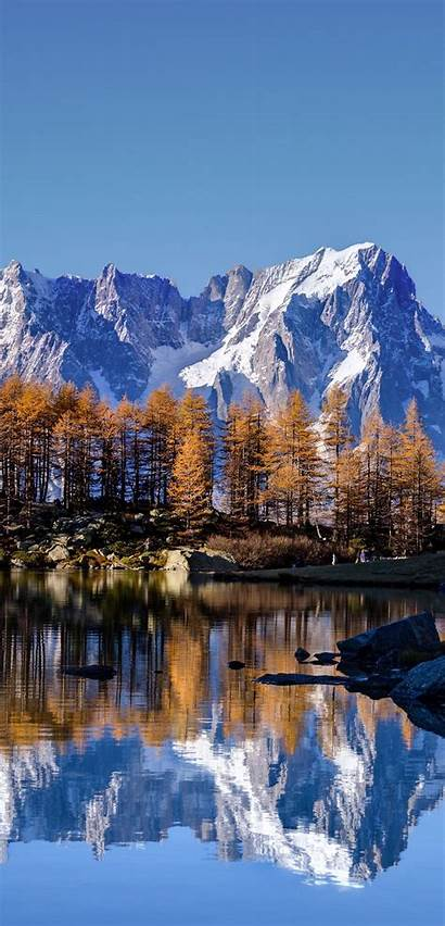 Blanc Mont Autumn Iphone Wallpapers Lake Alps