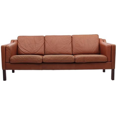chestnut brown leather sofa mid century modern