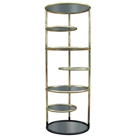 Glass Shelf Etagere by Brass And Smoked Glass Swivel Etagere At 1stdibs