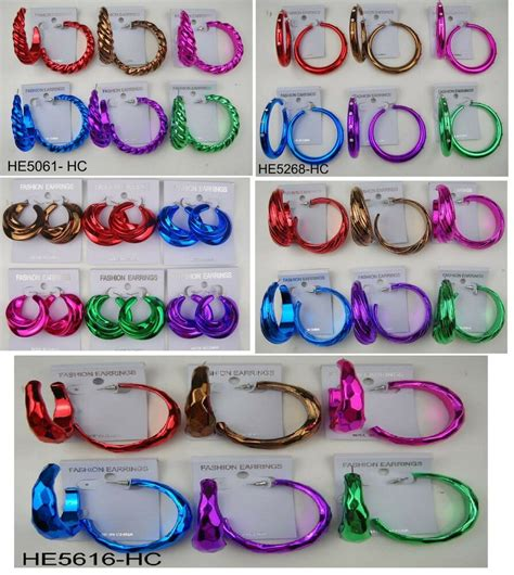color hoop wholesale jewelry lots 6 pairs fashion color hoop earring