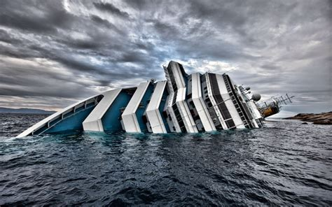 Costa Concordia Disaster Crash Ship Cruise Ship Sea Clouds Sinking Ships Wallpapers HD ...