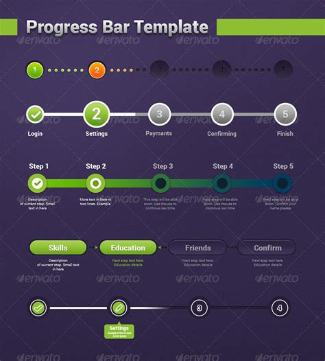step  step progress bar template  bugsster graphicriver