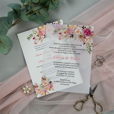 exquisite pink floral uv printing wedding invitations
