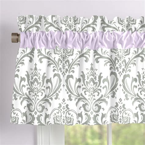 And Gray Valance by Lilac And Gray Traditions Damask Window Valance Rod Pocket