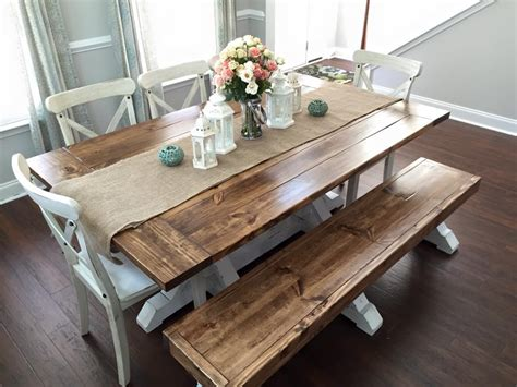 farm style table with bench farmhouse table bench shanty 2 chic