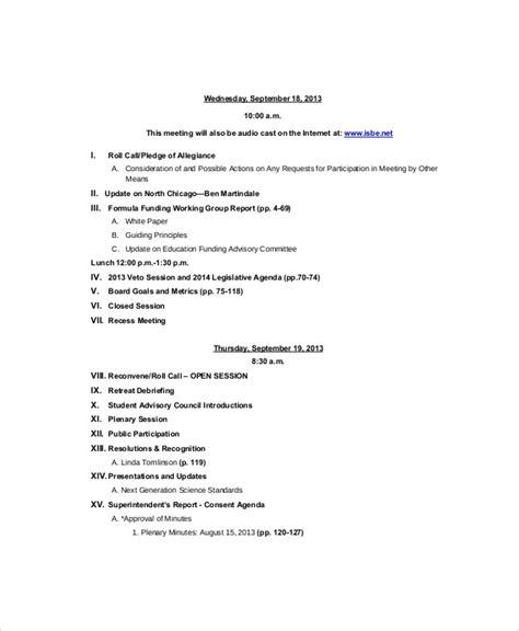 strategy meeting agenda templates  sample