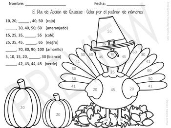thanksgiving color by number pattern spanish english tpt