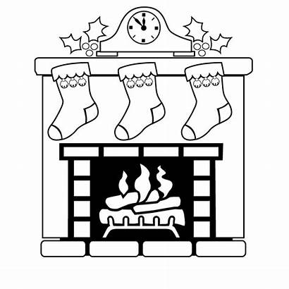 Fireplace Christmas Coloring Mantle Pages Clock Draw