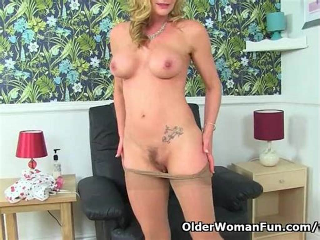 #English #Milf #Elegant #Eve #Peels #Off #Sheer #Tights