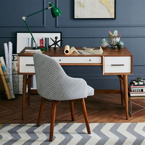 mid century desk acorn white west elm