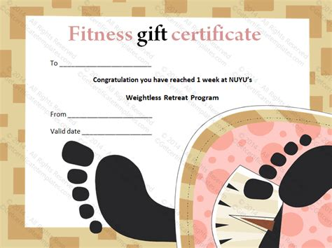 Weight Loss Fitness Classes Gift Certificate Template