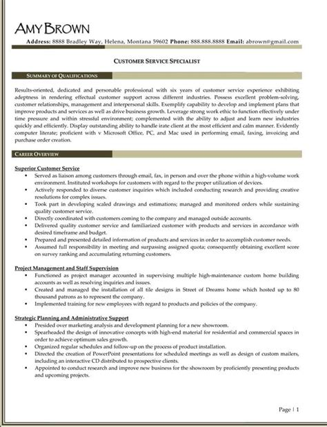 resumes for customer service specialist call center resume exles resume professional writers