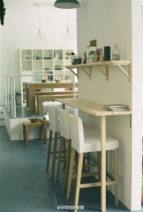 kitchen bar table against wall hallway breakfast lunch bar from ikea shelves pipe