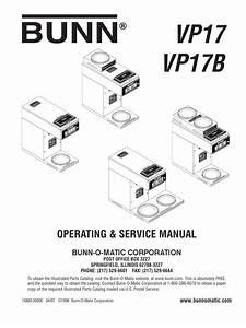 Bunn Coffee Maker Vpr Series Manual