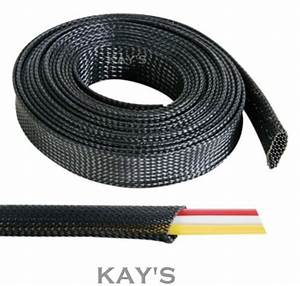 Black Braided Cable Sleeving  Sheathing