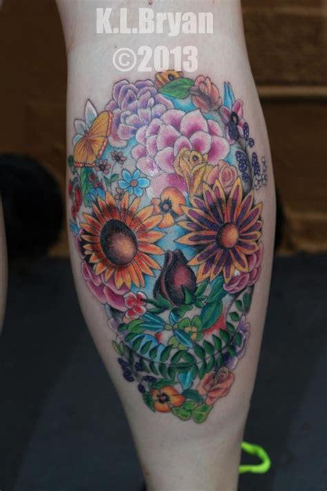 flower sugar skull tattoo   kenneth